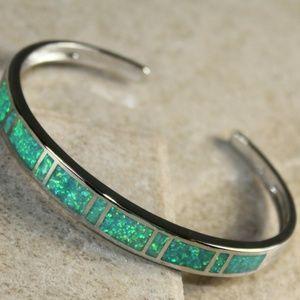 Jewelry - Green Fire Opal Open End Silver Bracelet Cuff